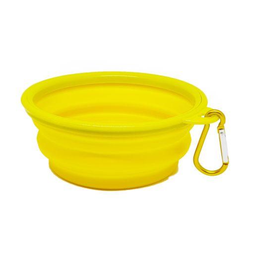 Praktyczna miska turystczna z karabińczykiem- żółta